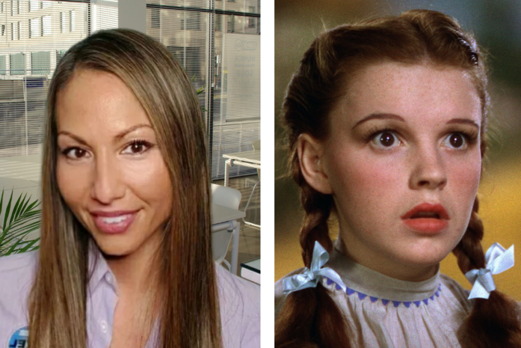 Headshot of Boca Raton IT Service executive with long brown hair alongside headshot of Dorothy from Wizard of Oz.